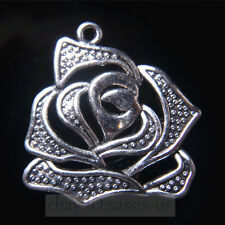 10pcs 28mm Rose Flower Pendant Charms Tibetan Silver DIY Jewelry Necklace A7819