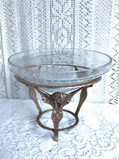 "8"" CRACKLE GLASS BOWL WITH SOLID BRASS CHERUBS PEDESTAL STAND"