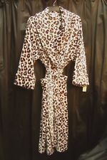 LONG ULTRA SOFT PLUSH LEOPARD MICRO FLEECE NIGHTGOWN WRAP ROBE W/POCKETS~3X~NEW