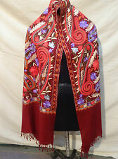 multi color, Crewel Embroidered Wool Shawl. Kashmir, Ari Embroidery 581