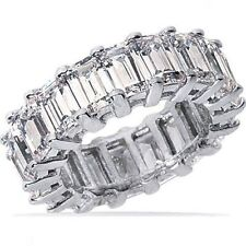 11.51 ct Emerald Cut PLATINUM DIAMOND BAND ETERNITY RING E-F color VVS size 6