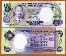 Philippines, 100 Piso (ND) 1969, Pick 147 (147a), A-Prefix, Low S/Ns, UNC