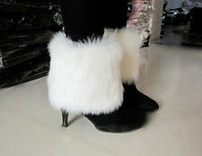 Boot Cuff Fluffy Soft Furry Faux Fur Leg Warmers Boot Toppers white 15cm