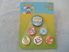 THE SMURFS - BUTTON PINS - 6 PACK - 2009 - STYLE #1993SF - NIP