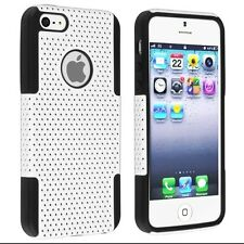 New Apple iPhone 5s White / Black Mesh Combo Silicone Protective Cover Skin Case