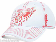 REEBOK NHL PRO DRAFT FLEX FIT HOCKEY HAT/CAP - DETROIT RED WINGS - L/XL -WHITE
