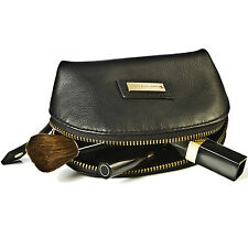 Leather Make Up Pouch Cosmetic Bag Case Zip Around Small Toiletry Half Moon