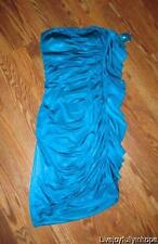 CACHE ~ New NWT Size 6 ~ HOT! Turquoise Blue RUFFLED Strapless Padded Bust Dress