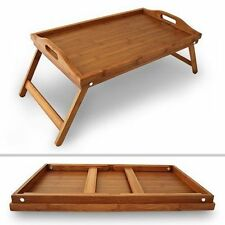 NEW BAMBOO LAP TRAY FOLDING LEGS WOODEN OVER BED TABLE BREAKFAST SERVING TRAY