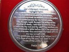 1-OZ. DETAILED 23RD PSALM THE LORD IS SHEPARD  999 SILVER ENGRAVABLE  COIN +GOLD