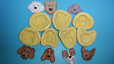Dog Silicone Molds set of 7 Gumpaste Fondant cupcake topper soap clay  #282