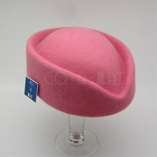 Vintage Wool Felt Ladies Air Hostesses Stewardess Pillbox Hat Fascinators Pink