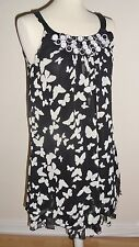 BLACK & WHITE LONG BLOUSE TOP / SHORT DRESS SIZE S/M (10)
