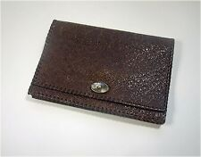Brown Leather Art Deco Envelope Clutch Bag
