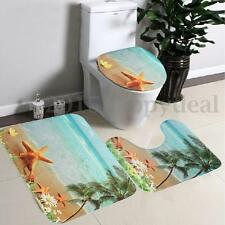 3Pcs/Set Bathroom Non-Slip Sun Beach Pedestal Rug + Lid Toilet Cover + Bath Mat