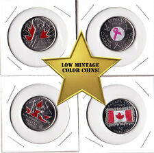 Canada 25c Colored Coin Set - Lot 4 Different Coins - Uncirculated GEMS