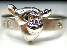 4.5,7.5,9  AUTH DISNEY WINNIE THE POOH TIGGER STERLING SILVER PLATINUM BAND RING