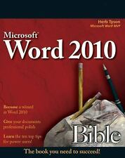 Microsoft Word 2010 Bible by Herb Tyson (2010, Paperback) NEW Computer Manual