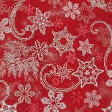 Kaufman Holiday Flourish 9 15762 3 Red with Silver Snowflakes by the yard