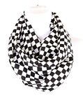 B38 Check Harlequin Print Lightweight Black White Infinity Scarf Boutique