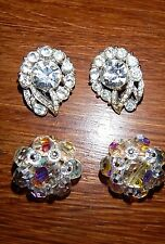 2 PAIR VINTAGE CLIP ON EARRINGS RHINESTONE AND IRRIDESCENT - BEAUTIFUL