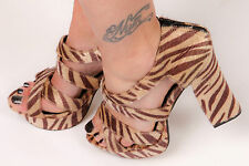 70s vintage style tiger print faux fur platform heels 70s glam rock fancy dress