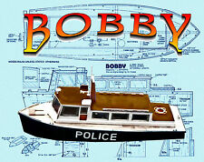 "Build a 20"" Radio Control SEMI-SCALE POLICE BOAT Full size Printed plans & Notes"