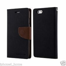 Genuine MERCURY Goospery Black & Brown Flip Case Wallet Cover For iPhone 5/5s/SE
