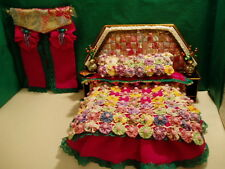 Handmade Miniature Bed with Complete Bedding and Curtains - OOK