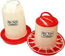 COMBO*X-LARGE RITE FARM PRODUCTS 4 GAL & 20 LB WATERER & FEEDER CHICKEN POULTRY