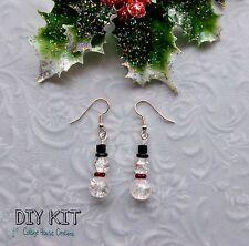 SnowMan Beaded Dangle DIY Earring & Jewelry Making Instruction Kit