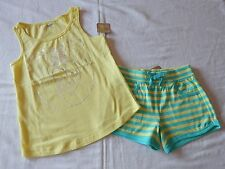 NWT CRAZY 8 LOVE HANDS TANK TOP SIZE 7-8 & STRIPED KNIT SHORTS SIZE 5-6
