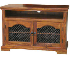 SOLID SHEESHAM WOOD JALI WIDESCREEN TV LCD PLASMA CABINET STAND UNIT