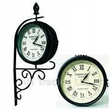 Victorian Double/Dual Faced Garden Clock Paddington Station Outdoor Wall Mounted