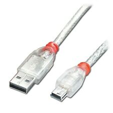 Lindy 3m USB 2.0 Cable, Type A to mini B, Transparent