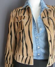 ANDREW MARC CALF HAIR TIGER STRIPED SNAP JACKET TURQ LINING XS GORGEOUS! MINT