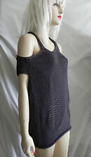 MARITHE FRANCOIS GIRBAUD ASYMMETRICAL CROCHET KNIT GRAY TOP SIZE SMALL NEW TAGS