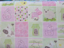 Farm Friends Pink Sheep Cow Barn 2inch squares By The yard Studio E Baby Animals