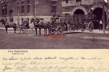 FIRE DEPARTMENT, OSHKOSH, WI 1909 horsedrawn equipment at station house