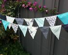 Handmade bunting - aqua grey elephants photography,baby, nursery matches quilt