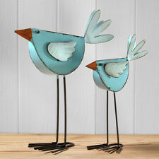 Pair of Contemporary Painted Metal Long Leg Bird Ornaments Sculpture