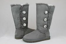 UGG AUSTRALIA BAILEY BUTTON BLING TRIPLET CHARCOAL GREY SIZE 8 US # 1007252