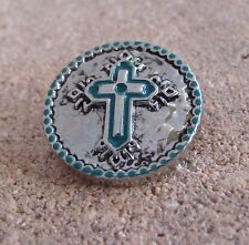 BUY 4, GET 5TH$ 6.95 SNAP FREE GINGER SNAPS™ TURQUOISE SILVER-TONE CROSS Jewelry