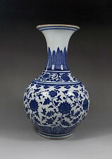 Fine Chinese Blue and white flowers Porcelain vase with sign
