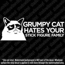 "GRUMPY CAT Hates Your Stick Figure Family Meme Vinyl Decal Sticker (8.5"" wide)"