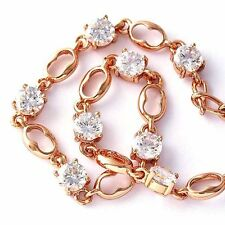 "7.87"" Rose Gold Filled Fashion Womens Crystal Elements Crystal Bracelet"