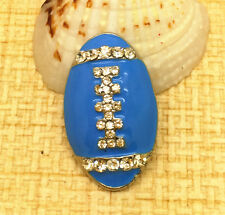Blue Rugby Rhinestone Chunk Snap Button for Noosa Necklace Bracelet  IOO160