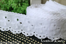 """14Yd Broderie Anglaise eyelet cotton lace trim 1.8""""(4.5cm) white yh590w laceking"""