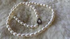 "Cultured 8mm White Oval Pearl Silvertone Flower Clasp 19"" Necklace"