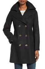 Michael Kors Black Long Wool Peacoat 8 fit 6 S M Gold Buttons Zip Pocket NWT
